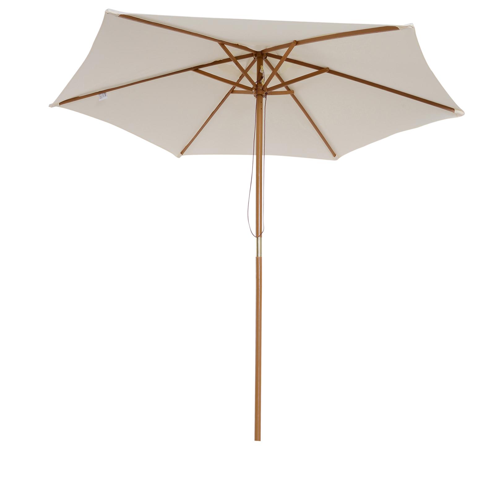 Outsunny Umbrelă Soare pentru Extern cu Suport din Lemn pentru Extern şi pentru Grădină 2.5X2.5M Crem imagine aosom.ro
