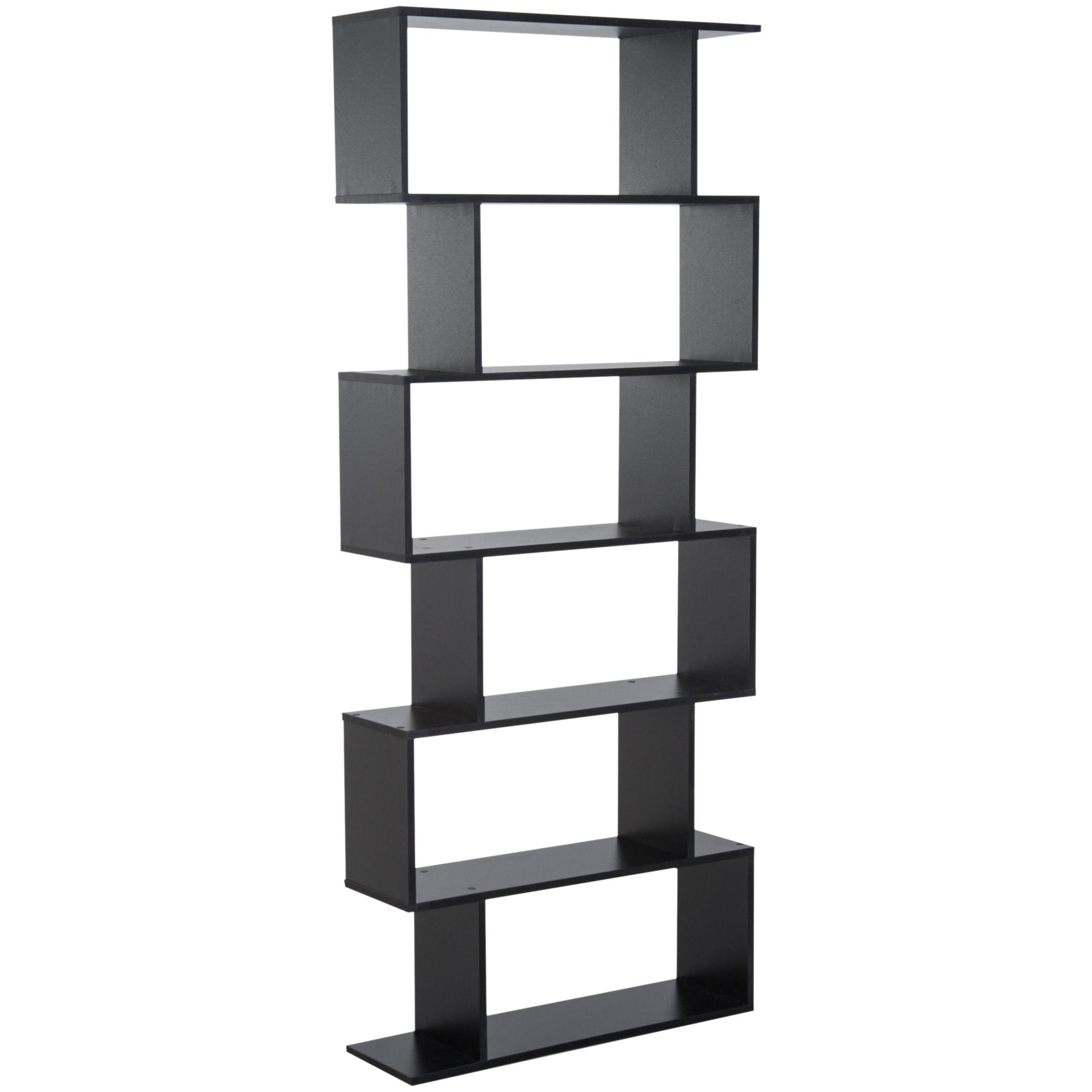 Homcom Librarie Design Modern in Lemn cu 6 Rafturi, Negru, 80x23x192cm imagine aosom.ro