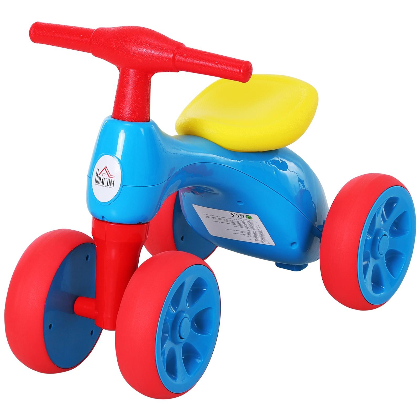 Homcom Bicicleta fara Pedale pentru Copii intre 18 si 36 Luni Rosu Albastru si Galben imagine aosom.ro