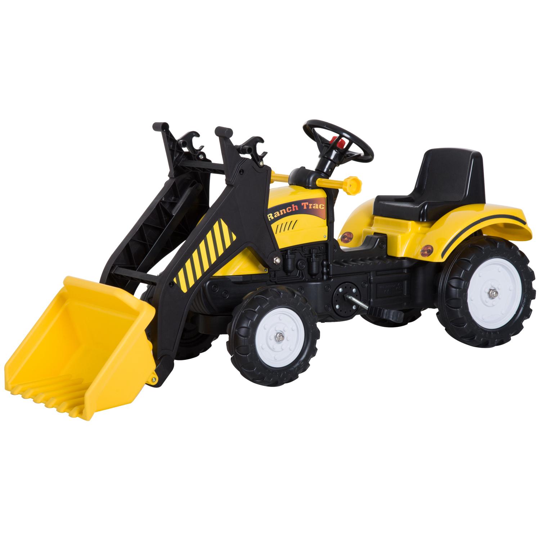 Homcom Tractor Jucarie cu Pedale pentru Copii cu Excavator, Negru si Galben imagine aosom.ro