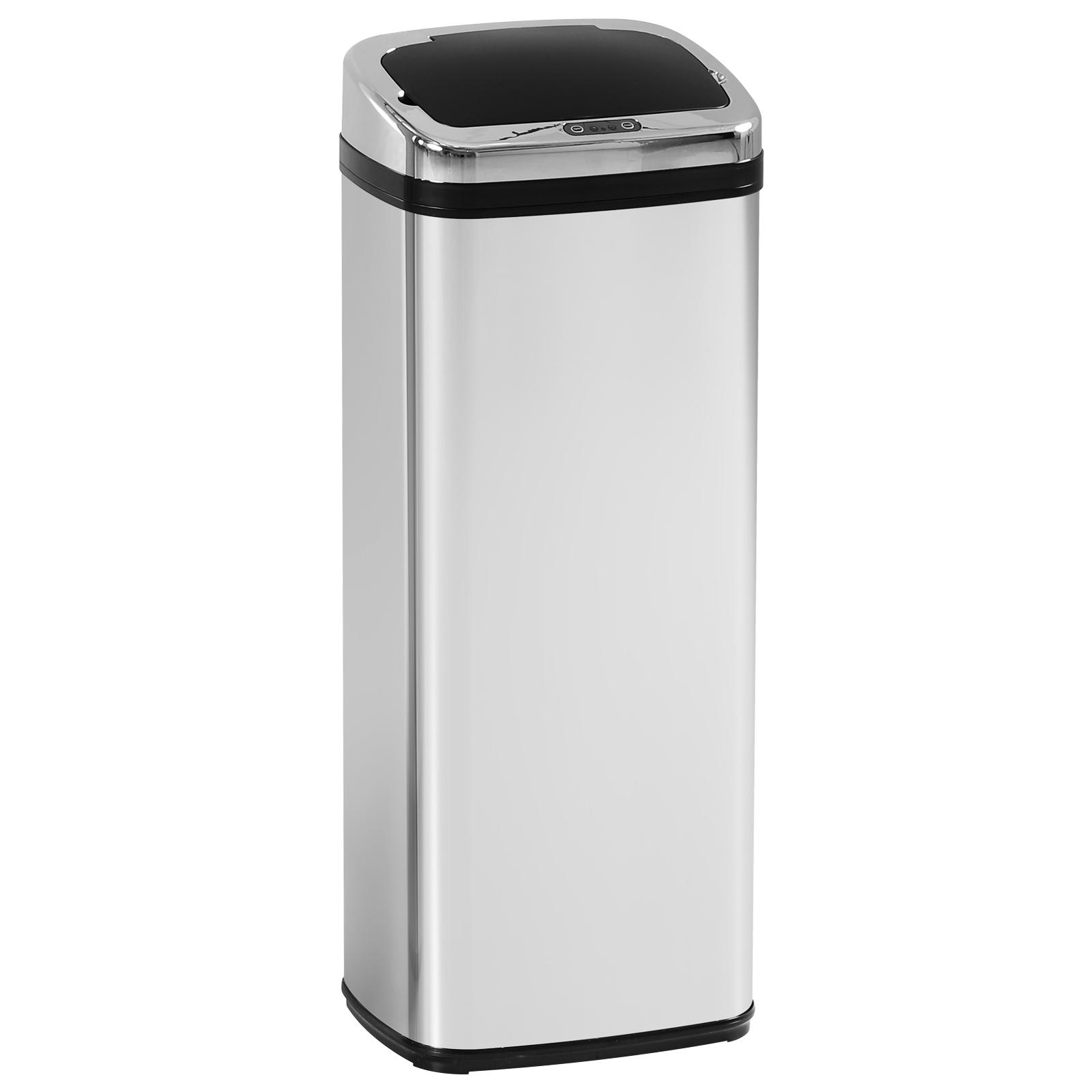 HomCom Coș de gunoi Pătrat din Inox cu Senzor automat, 50L imagine aosom.ro