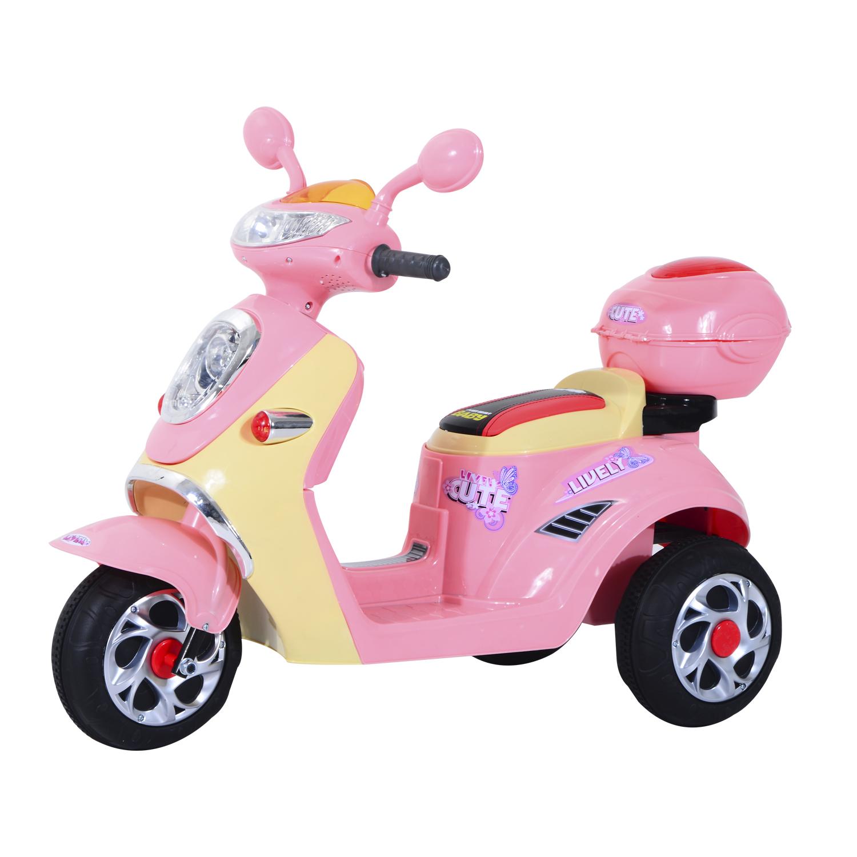 Homcom Motoreta Tricicleta Electrica pentru Fetite 6V cu Lumini si Muzica, Roz imagine aosom.ro
