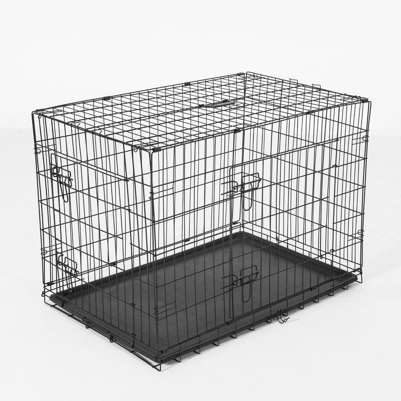 PawHut Cușcă Transport din Oțel pentru Animale, Pliabilă, Ușă dublă,Negru, 76x53x57cm imagine aosom.ro