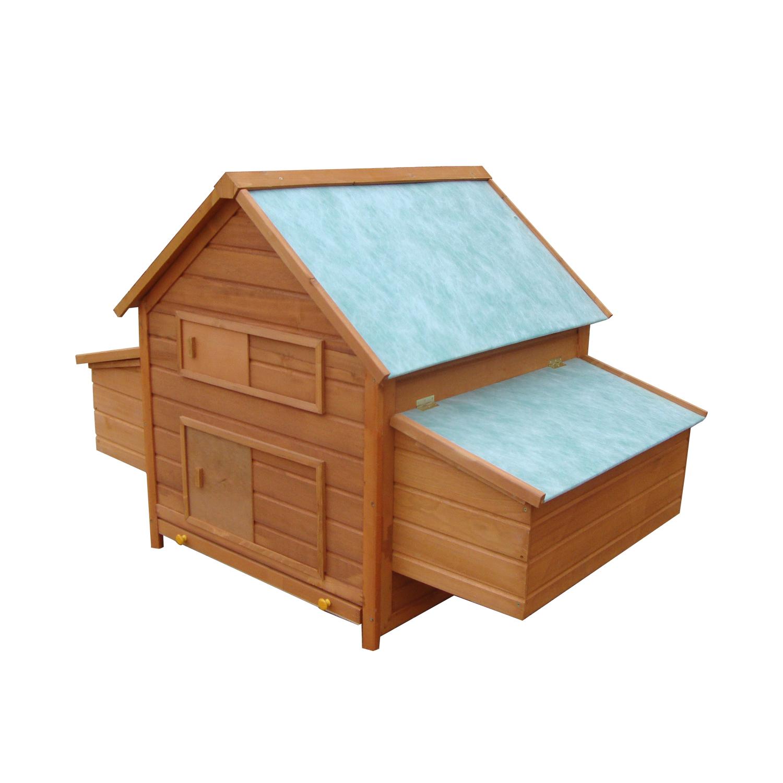 PawHut Coteț pentru Găini de Grădină din lemn de Brad, lemn verde, 160x98.5x107cm imagine aosom.ro