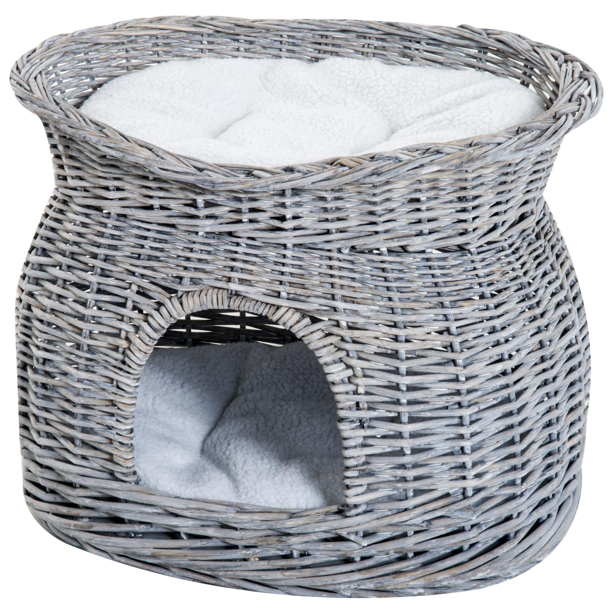 PawHut Cusca pentru Pisici cu 2 Rafturi cu 2 Perne Lavabile Gri alb 56 × 37 × 40cm imagine aosom.ro
