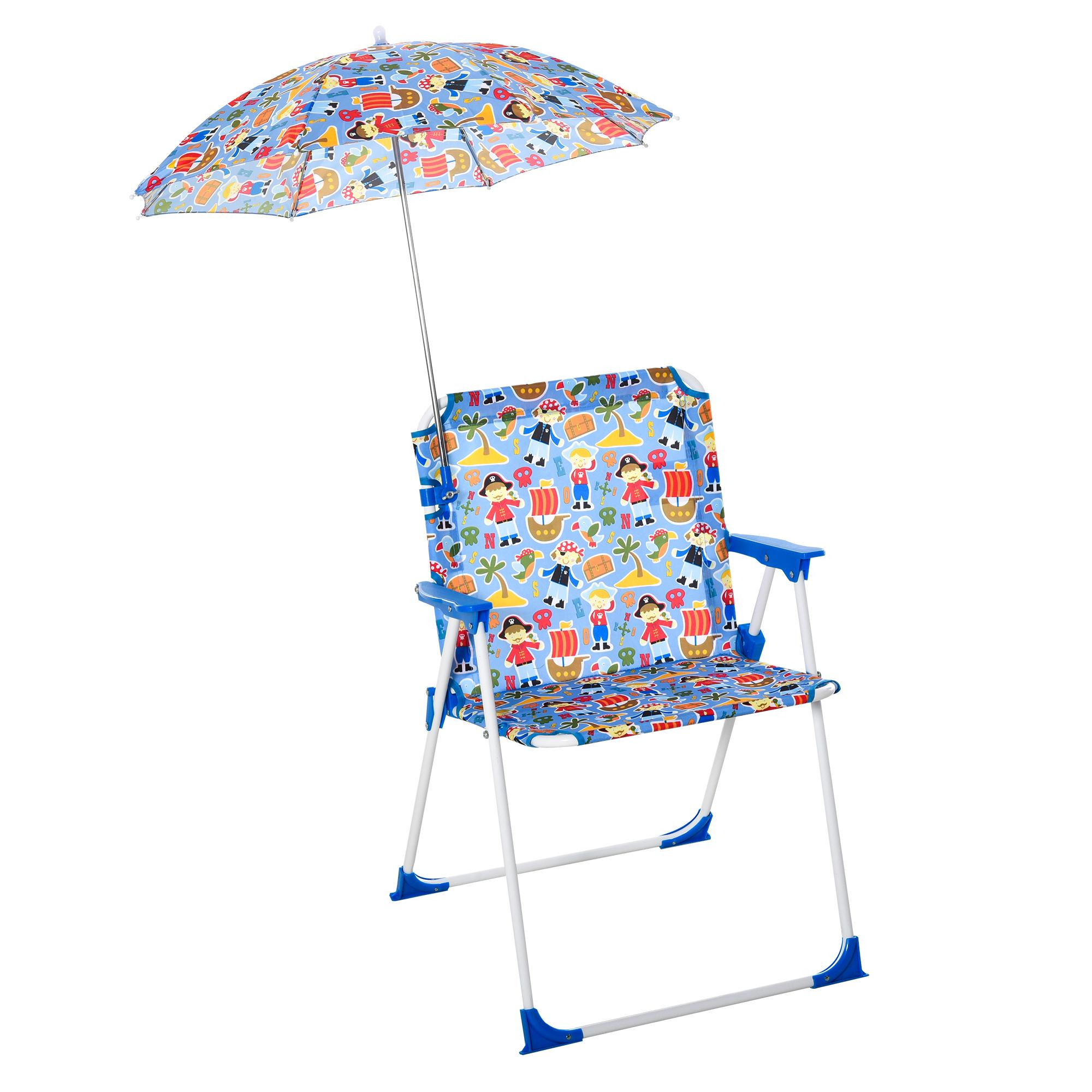 Outsunny Scaun Pliabil pentru Copii cu Umbrela Parasolar pentru Mare si Camping imagine aosom.ro