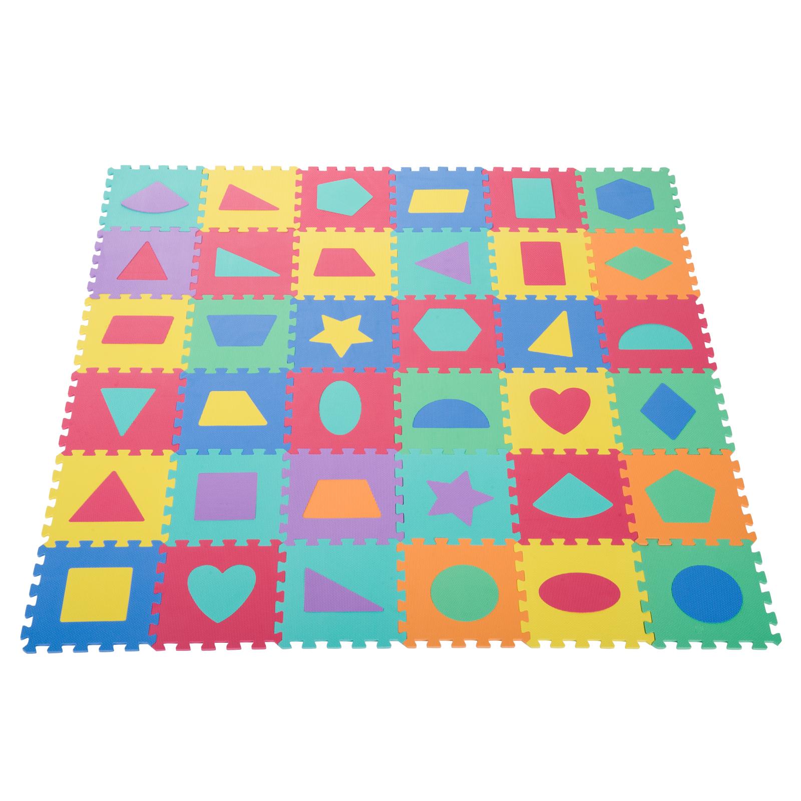 Homcom Covor Puzzle cu Forme Geometrice 36 Bucati 31x31cm, Colorat imagine aosom.ro