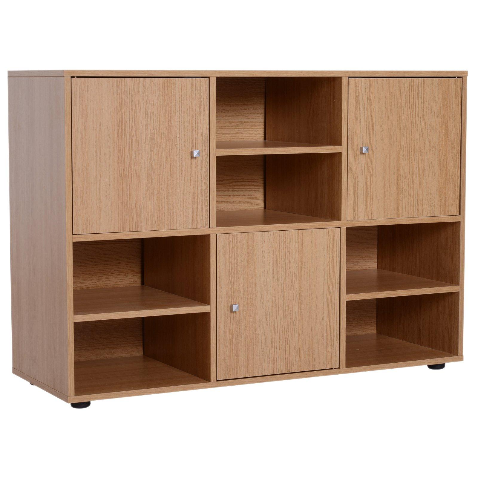 Homcom Biblioteca 6 Compartimente in Lemn, 110x40x78cm imagine aosom.ro