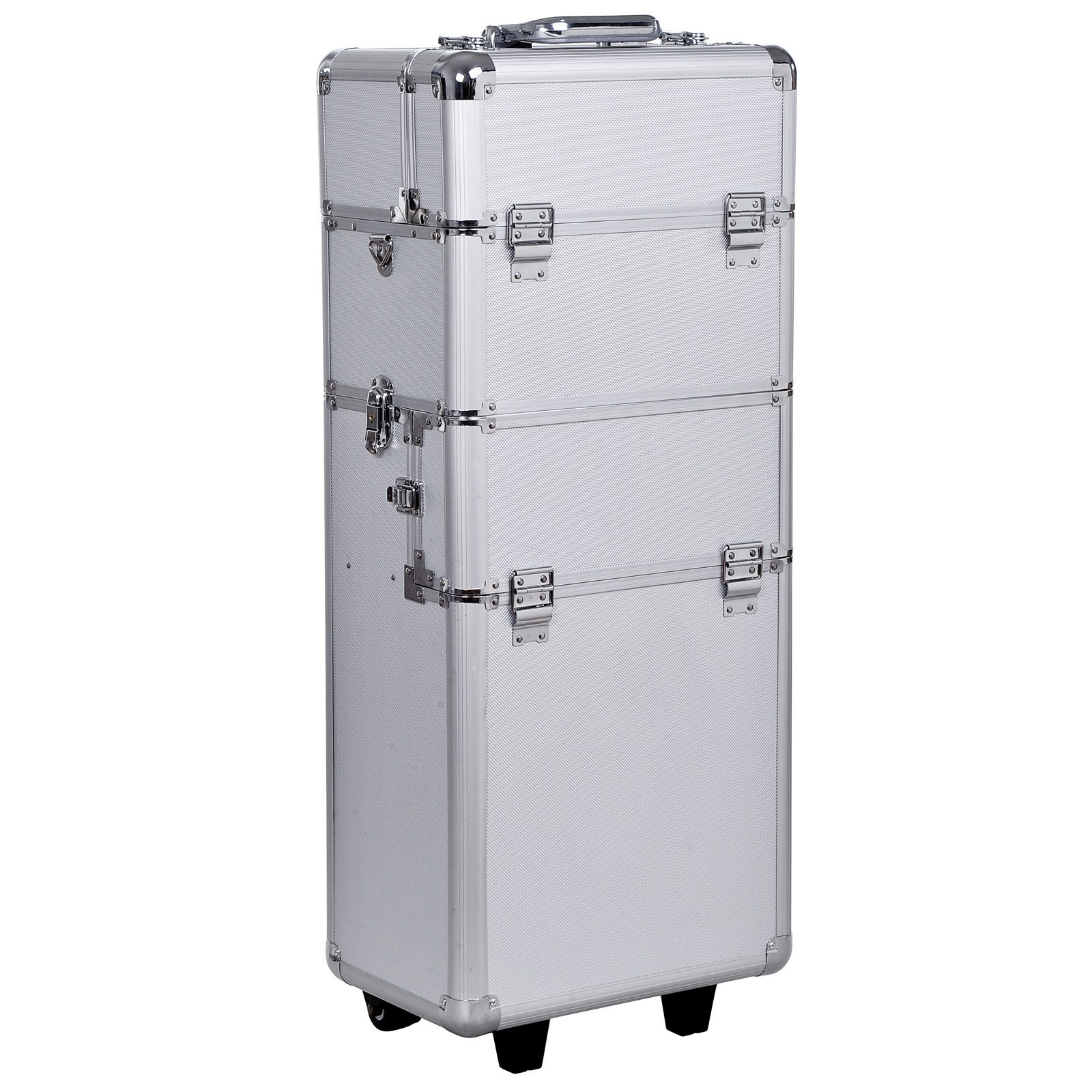 HomCom Trolley Make up Artist profesional Beauty Case Machiaj din Aluminiu imagine aosom.ro