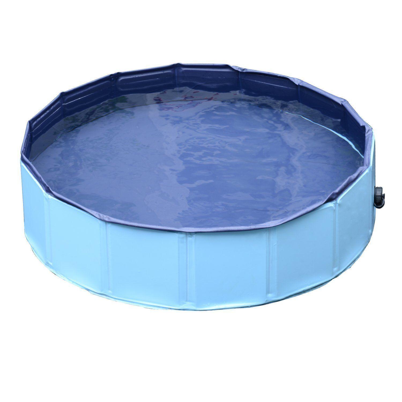 PawHut Piscina din Plastic Margine Stabilă pentru câini Animale Domestice, Albastră, 120x30cm imagine aosom.ro