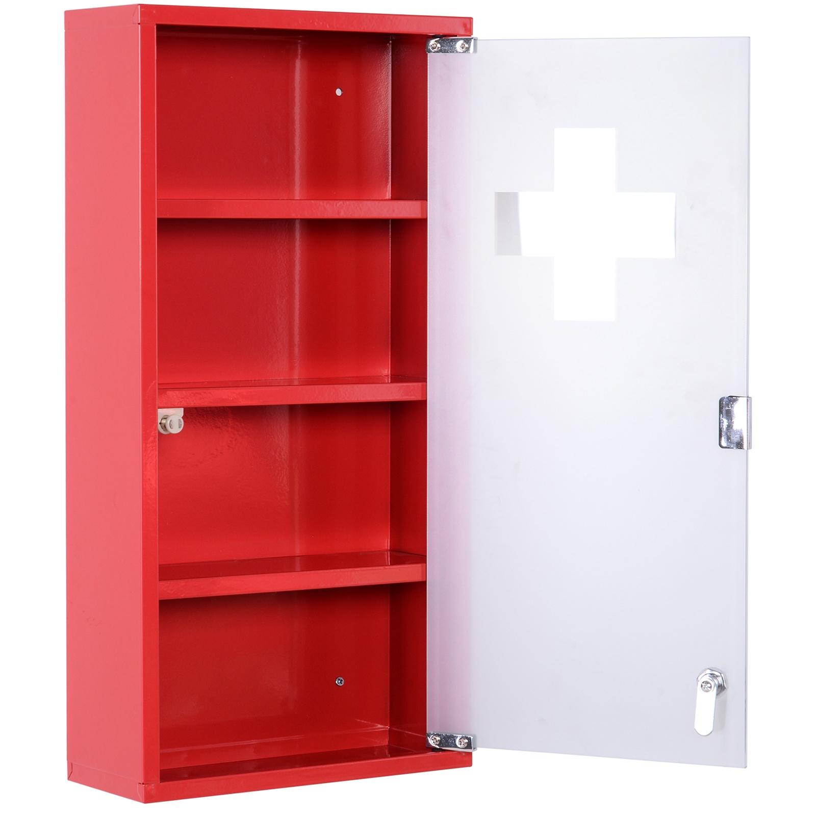 Homcom Dulap Trusa Prim Ajutor pentru Medicamente Rosu, 60x30x12cm imagine aosom.ro