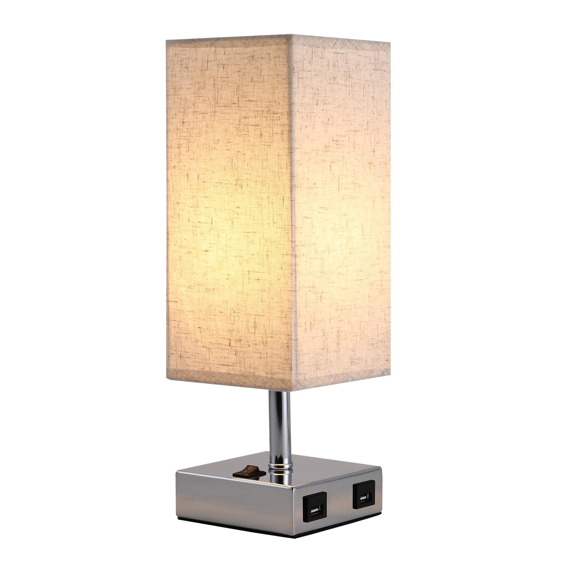 HOMCOM Lampa de Masa din Metal si Tesatura 2 Prize USB 2 Comutatoare, E27 imagine aosom.ro