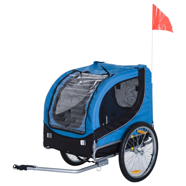 PawHut Remorcă Bicicletă pentru Câini, Albastru deschis și Negru, 130 x 90 x 110cm imagine aosom.ro
