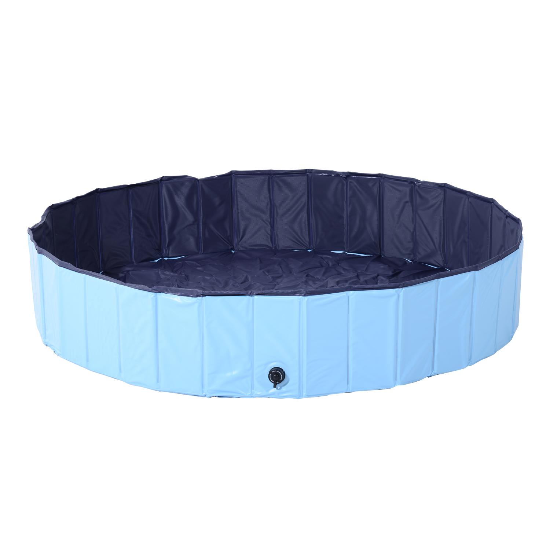 PawHut Piscina Pliabila pentru Caini in PVC, Albastru deschis, 160x30cm (ØxH) imagine aosom.ro