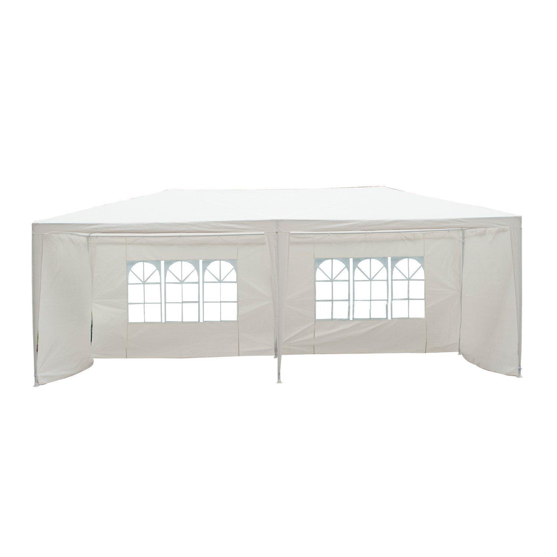 Outsunny Pavilion penrtu Extern Impermeabil din Oțel și PE cu Panouri Detașabile, Alb, 3x6m imagine aosom.ro