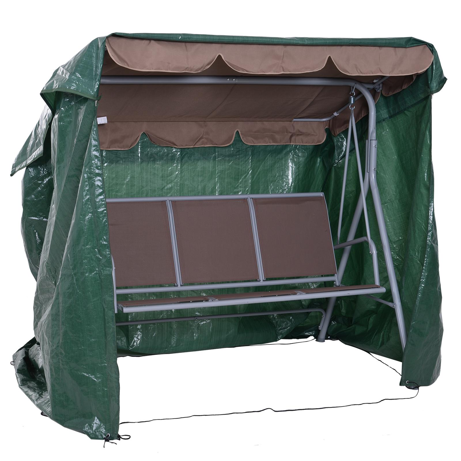 Outsunny Prelata de Acoperit pentru Mobilier de Extern Impermeabil Anti Mucegai cu Fixaj in PE, Verde,215x155x150cm imagine aosom.ro