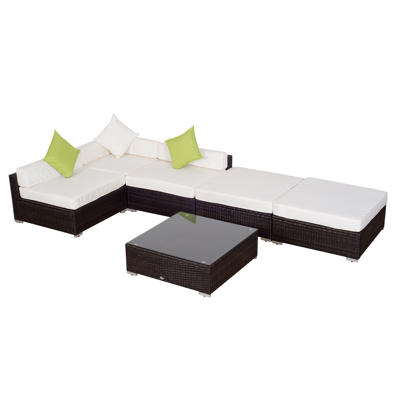 Poza Outsunny Set Lounge Mobilier pentru Gradina din PE Ratan 18 bucati, maro