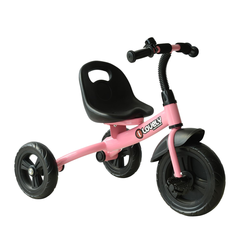 HomCom Tricicleta in Metal cu Clacson si Aripa, Roz imagine aosom.ro