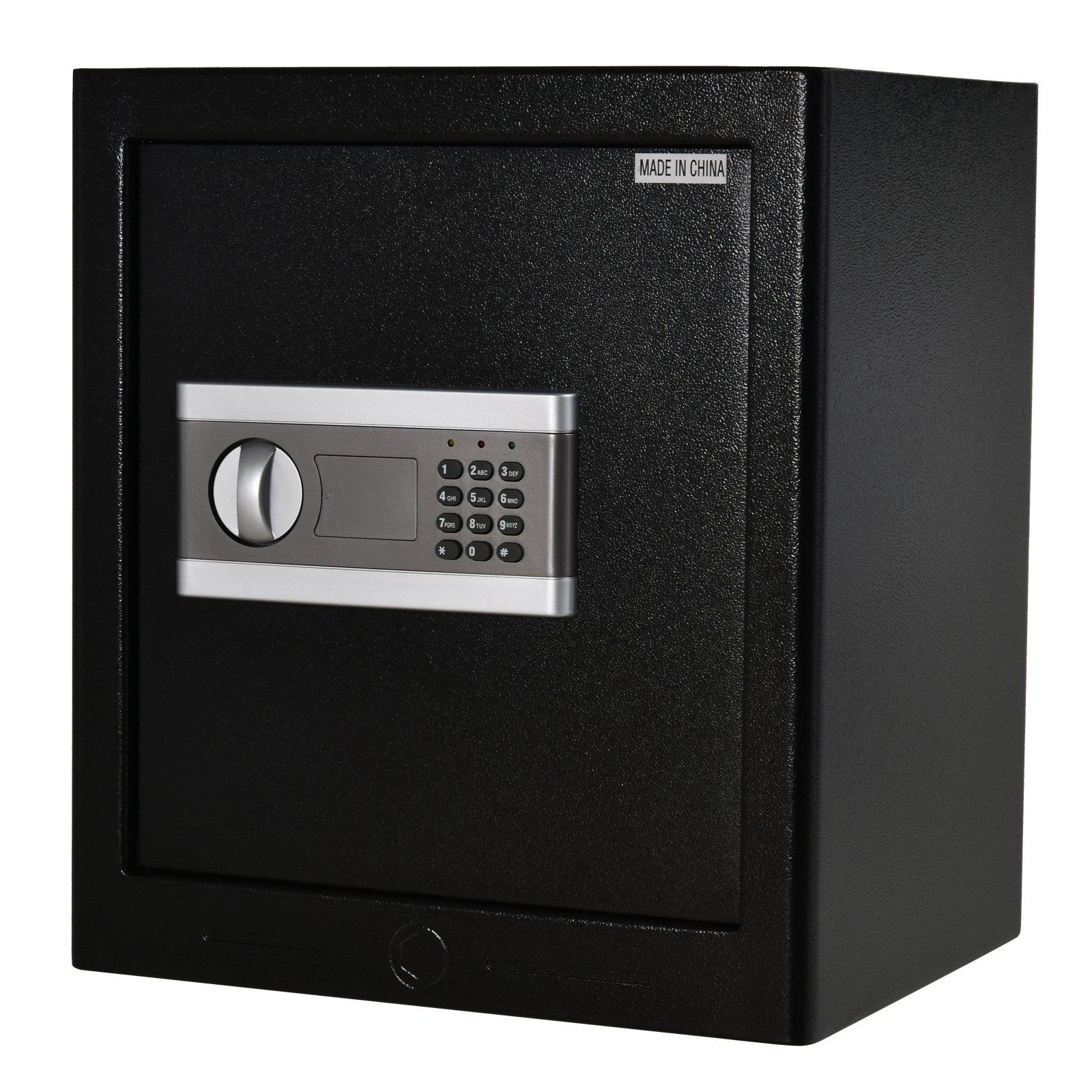 Homcom Seif in otel negru cu Inchidere Electronica si 2 Coduri PIN 38L x 31P x 42.7Hcm imagine aosom.ro