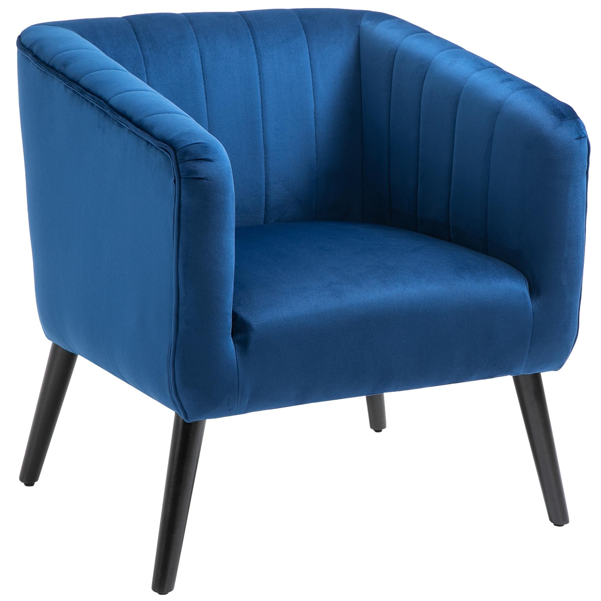 HOMCOM Fotoliu Modern Stil Nordic Invelis din Catifea si Picioare din Lemn, Albastru imagine aosom.ro
