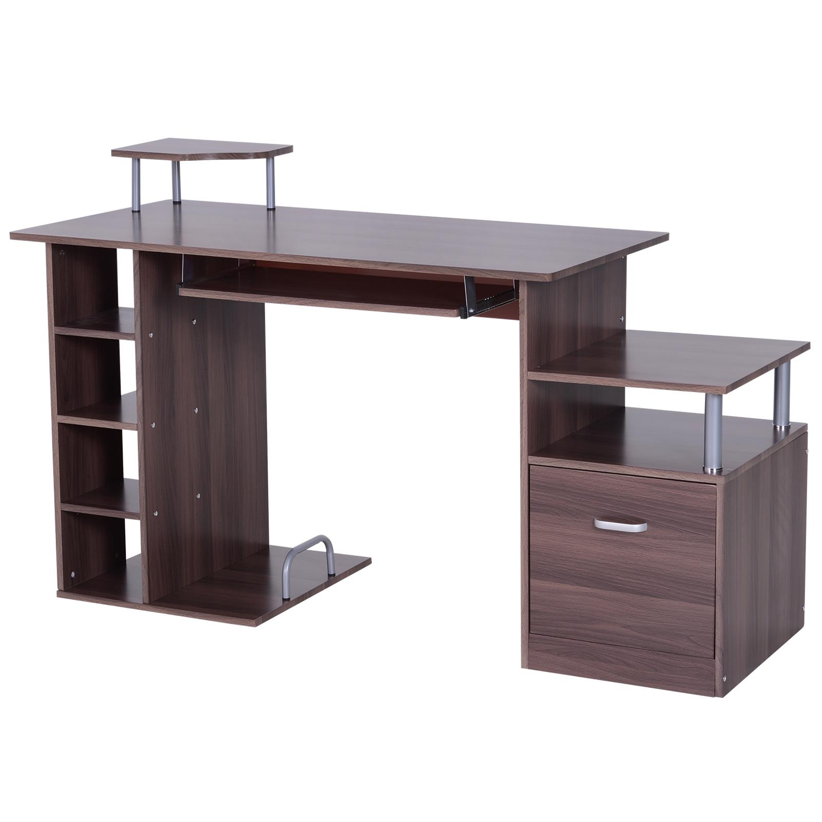 HomCom Masă de birou pentru Calculator Masă PC din Lemn Maro Închis Efect Lemn, 152x60x80cm imagine aosom.ro