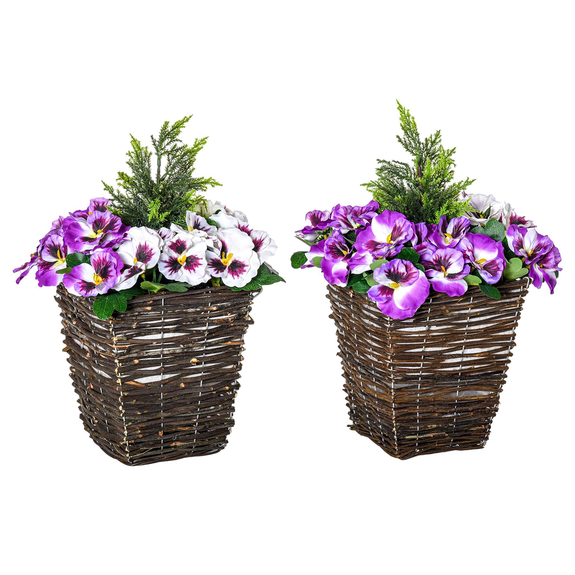 Outsunny Ghiveci cu Flori Artificiale de Phalaenopsis Violete si Albe Planta Artificiala Inalta 45cm imagine aosom.ro