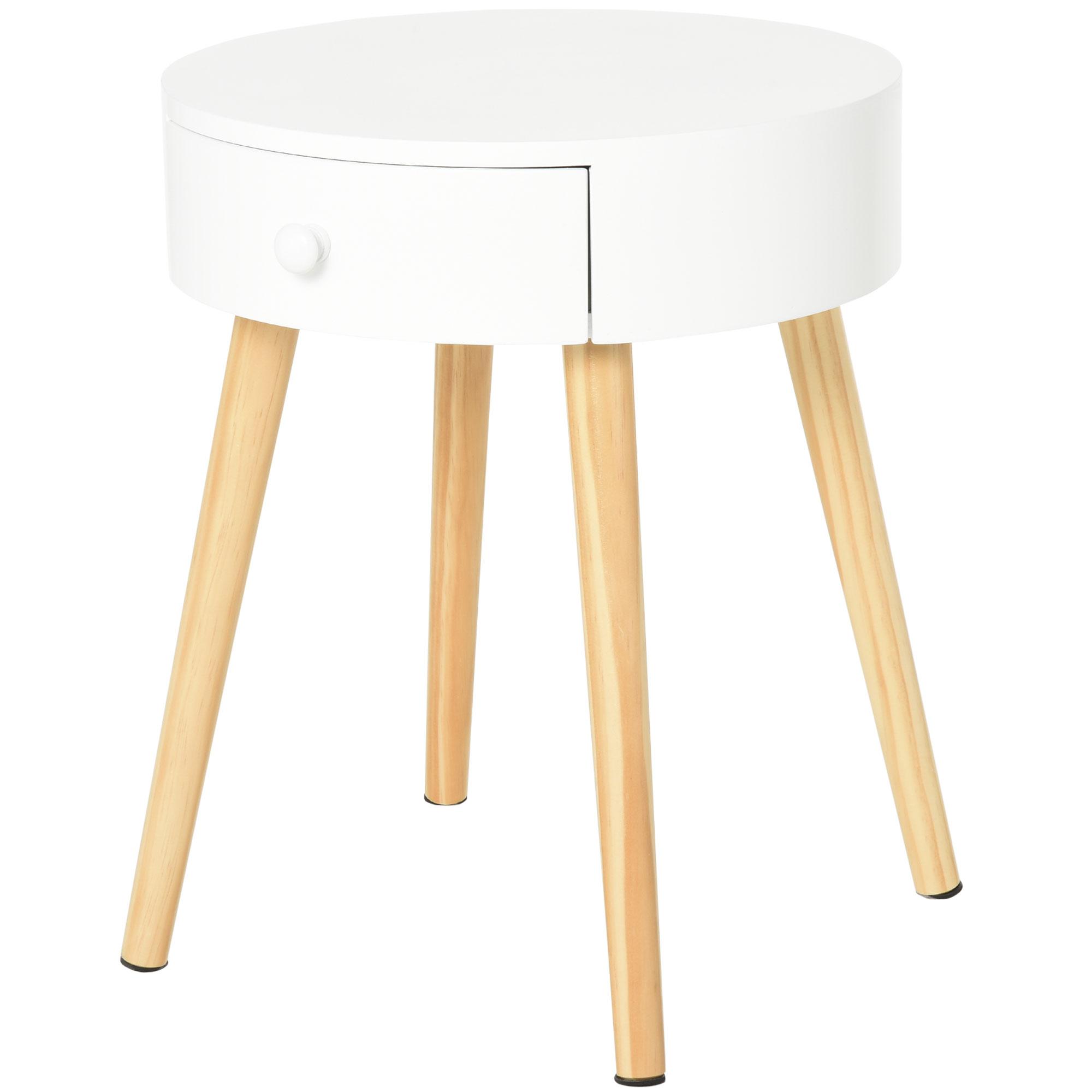 HOMCOM Noptiera Rotunda sertar organizer design inaltat din lemn alb imagine aosom.ro