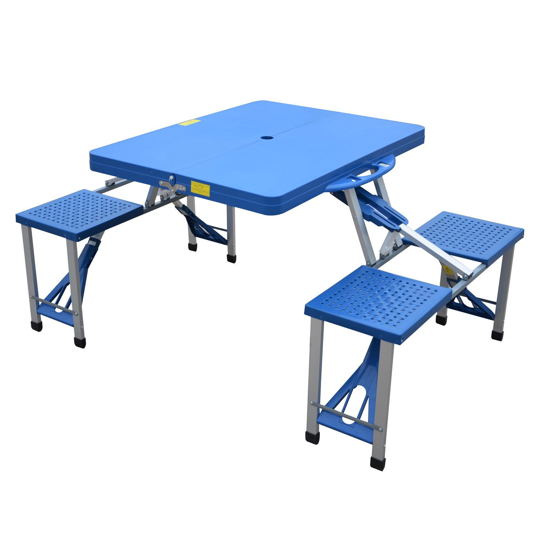 Outsunny Măsuță de picnic pliabilă portabilă din aluminiu și plastic cu 4 scaune, Albastru deschis imagine aosom.ro