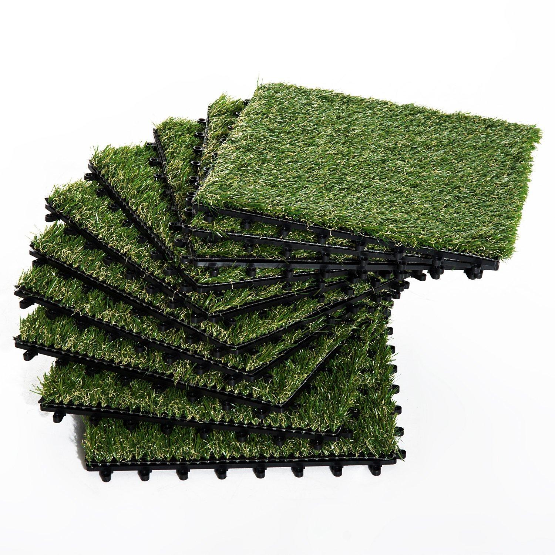 Outsunny Iarba Sintetica pentru Gradina Set di 10buc 30x30cm Verde Inchis imagine aosom.ro