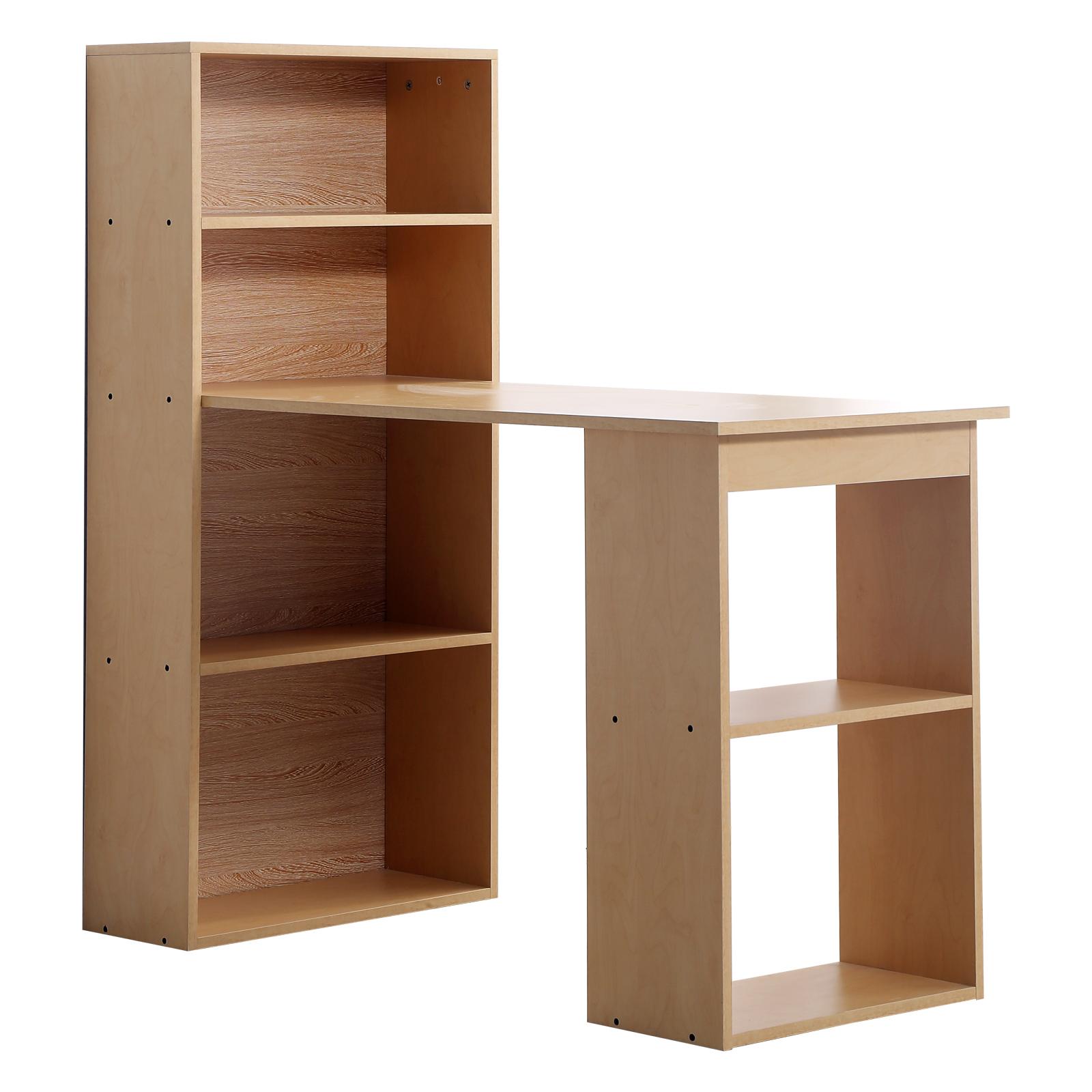 Homcom Birou modern cu Librarie in Lemn Natural 120x55x120cm imagine aosom.ro