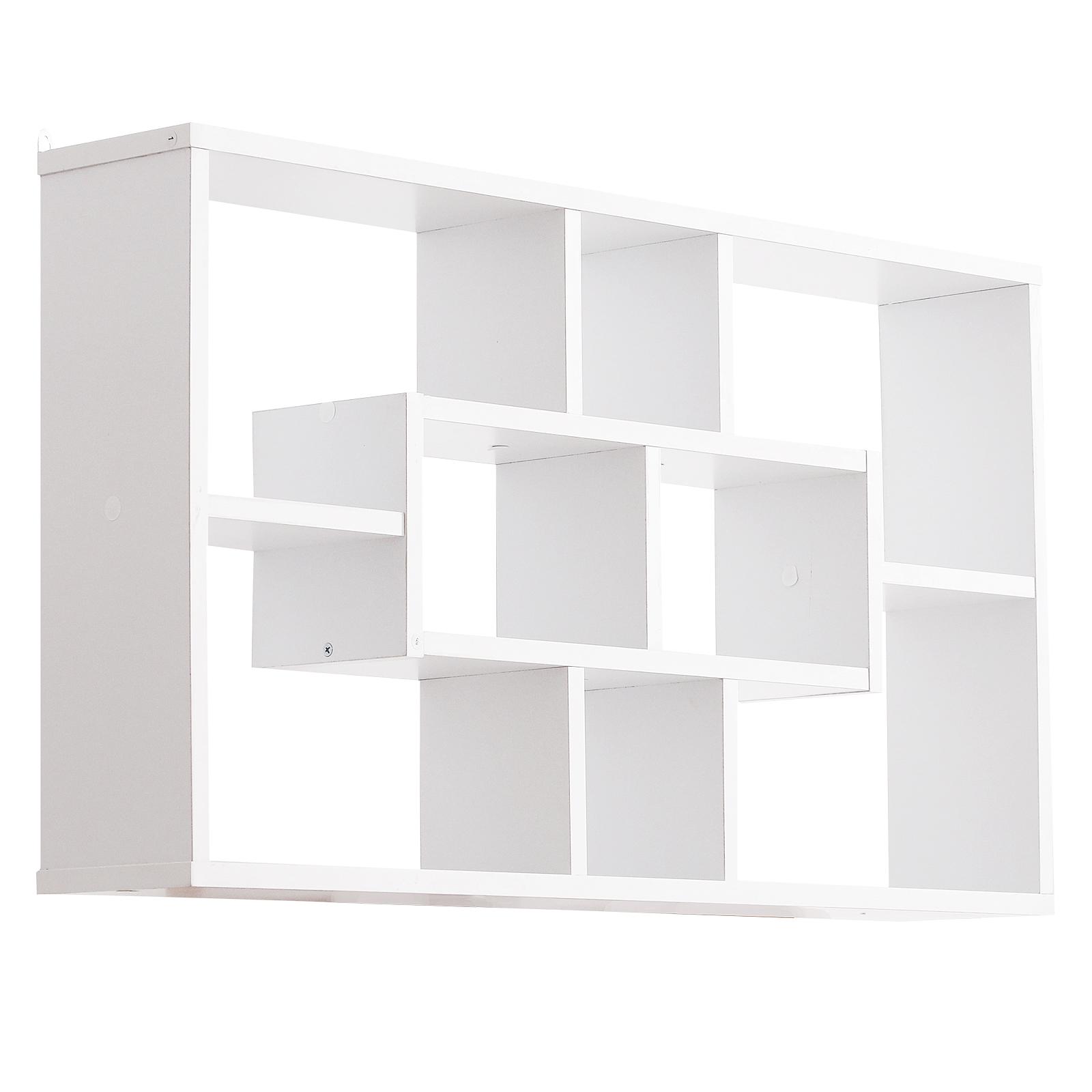 Homcom Librarie Moderna de Perete in Lemn Alb 85 x 47.5 x 14.5 cm imagine aosom.ro