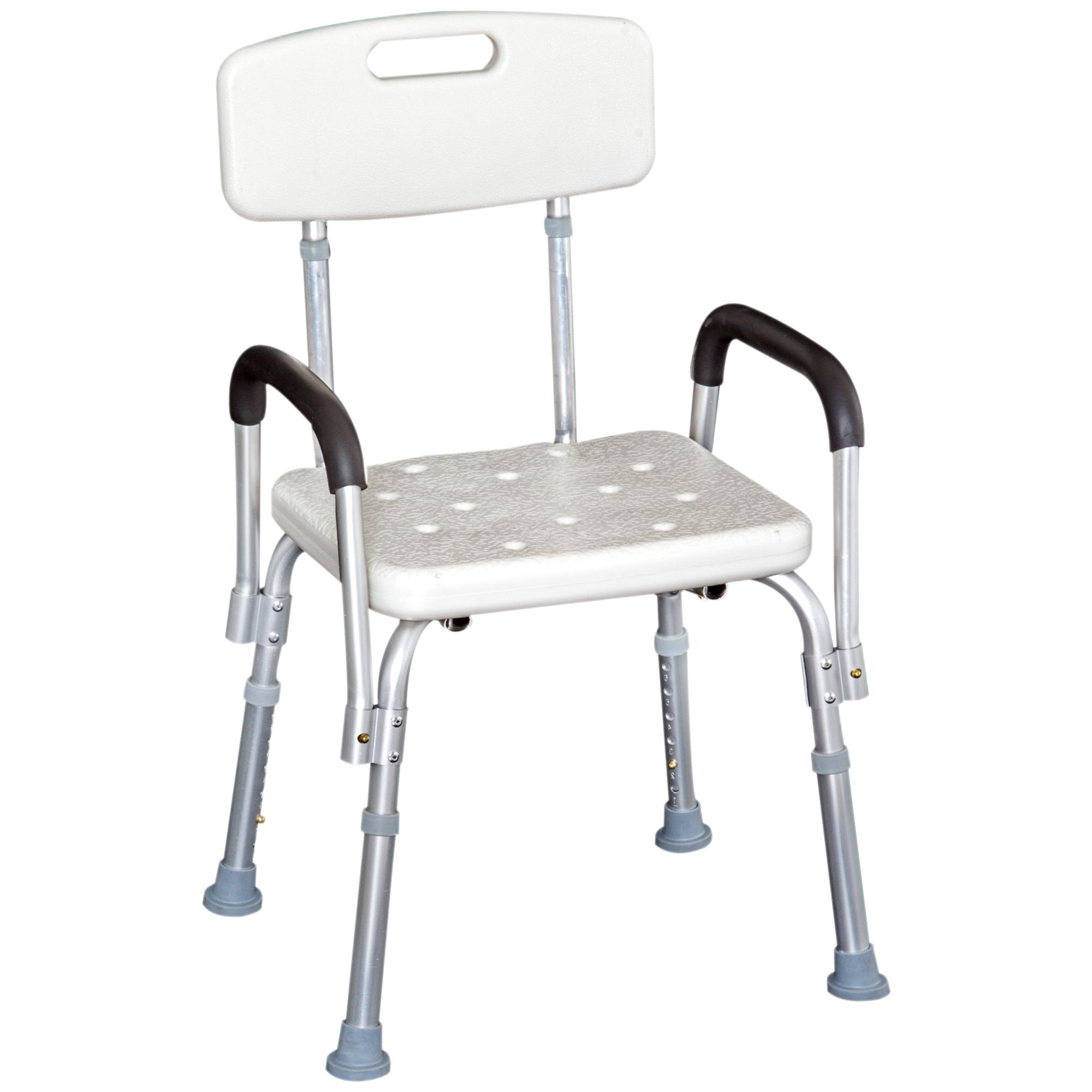 HomCom Scaun pentru Duș cu brațe -Scaun cadă cu spătar, scaun reglabil imagine aosom.ro