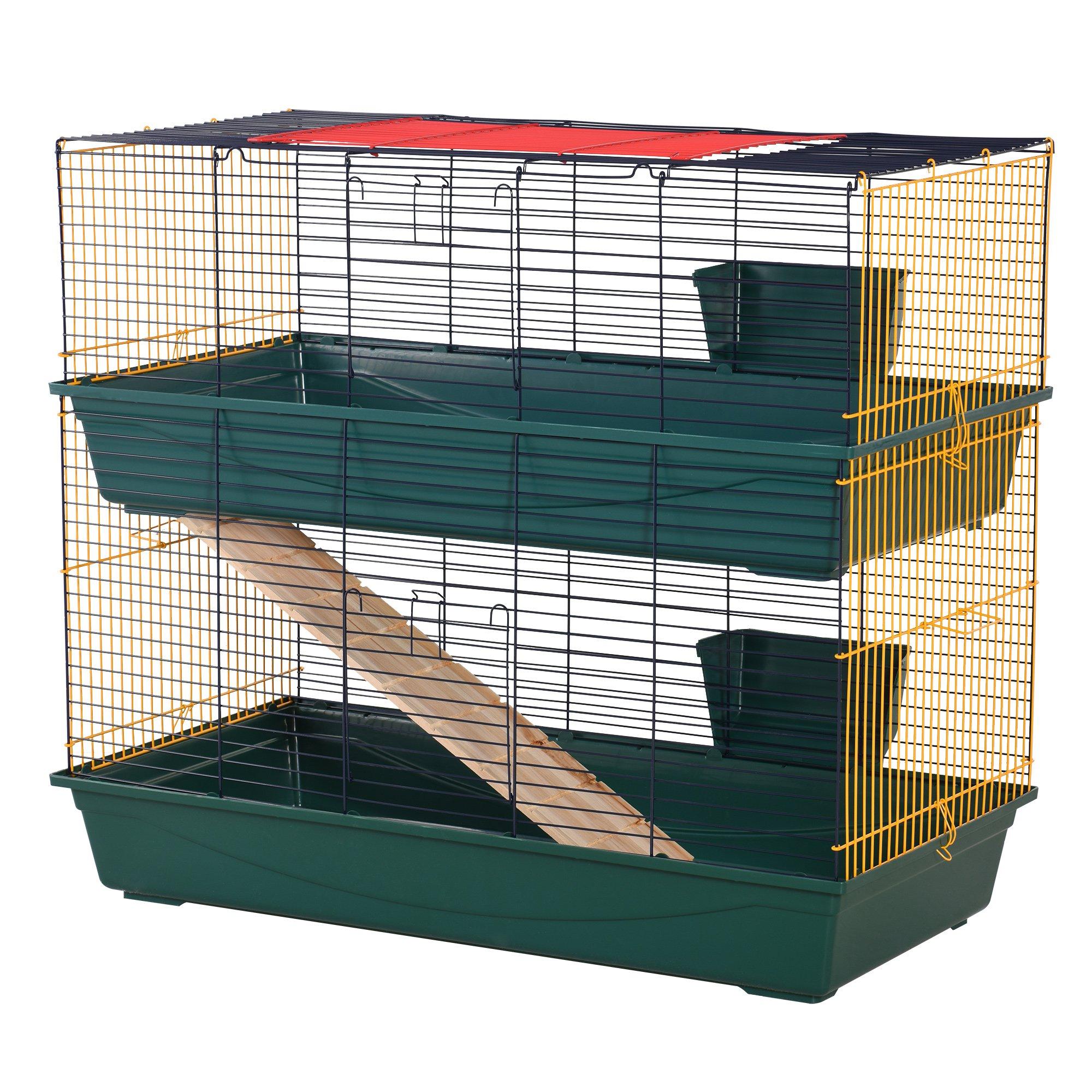 PawHut Cusca pentru iepuri cu 2 Niveluri cu Rampa, 3 Usi si 2 Alimentatoare imagine aosom.ro
