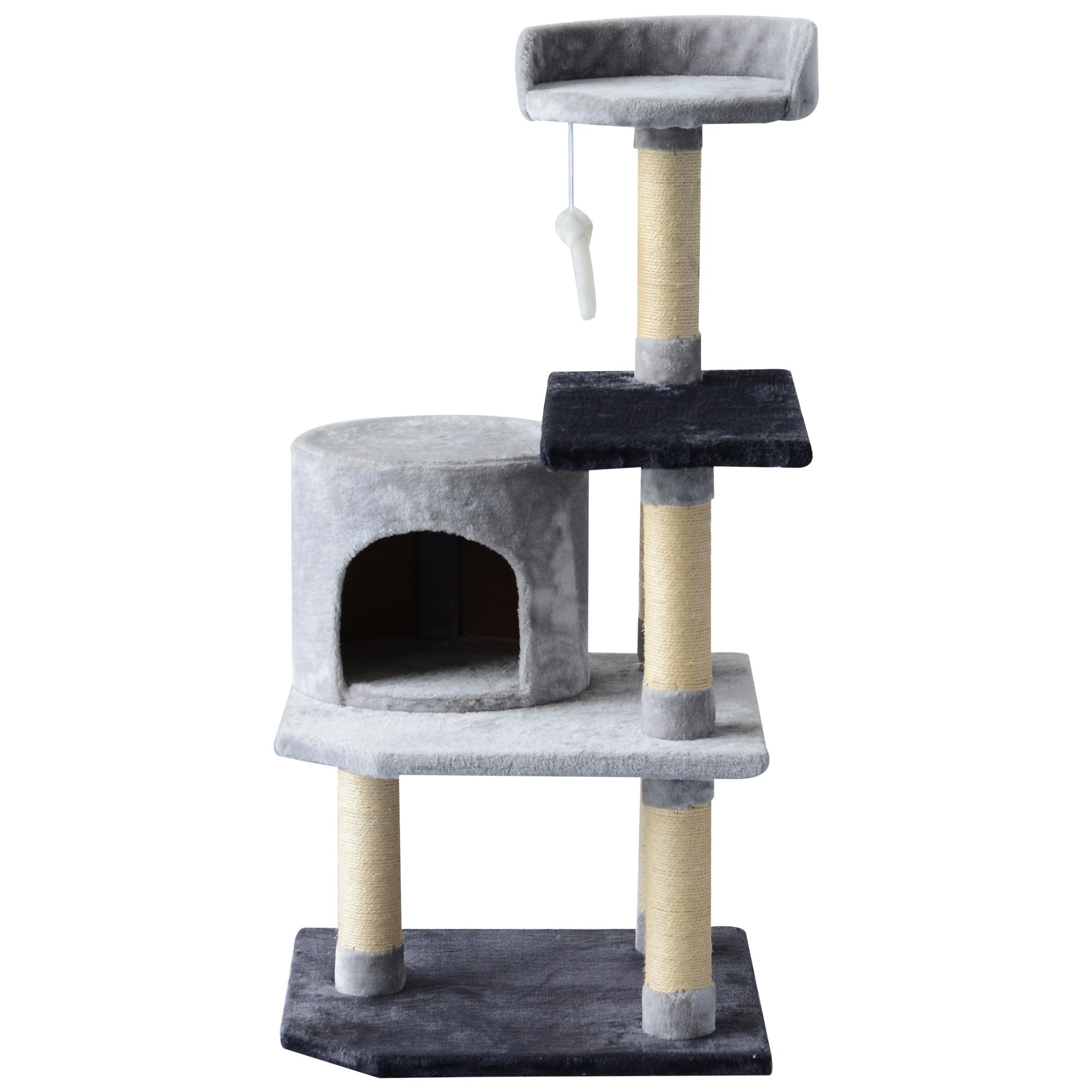 PawHut Copac pentru Pisici cu 3 Niveluri cu Soricel Gri, 48x48x100cm imagine aosom.ro