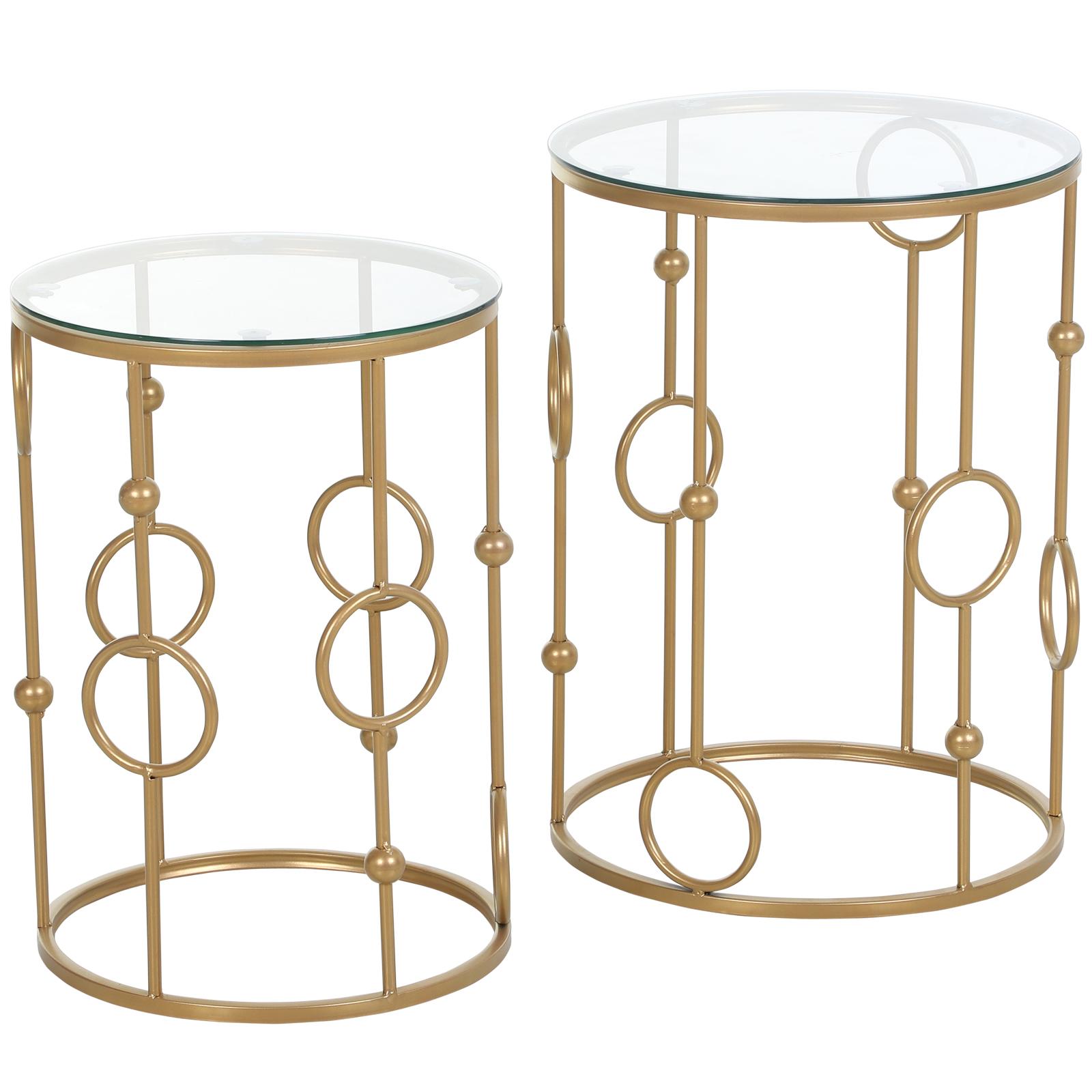 Homcom Set 2 Piese Masute de Cafea Design cu Modele de Cerc Metal si Sticla Temperata imagine aosom.ro