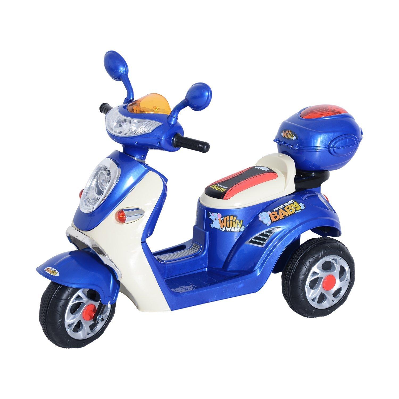 HomCom Mini Moto Motoreta Electrica 6V pentru Copii Viteza 3KM/h cu Lumini Muzica, Albastru imagine aosom.ro