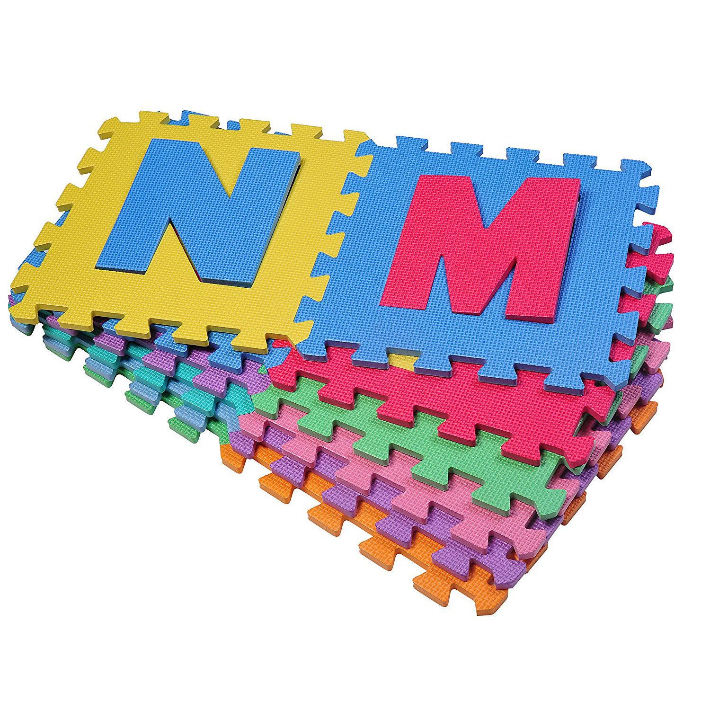 HomCom Covor Puzzle Joacă Copii 36 Bucăți - 26 Litere și Numeri de la 0 la 9 imagine aosom.ro