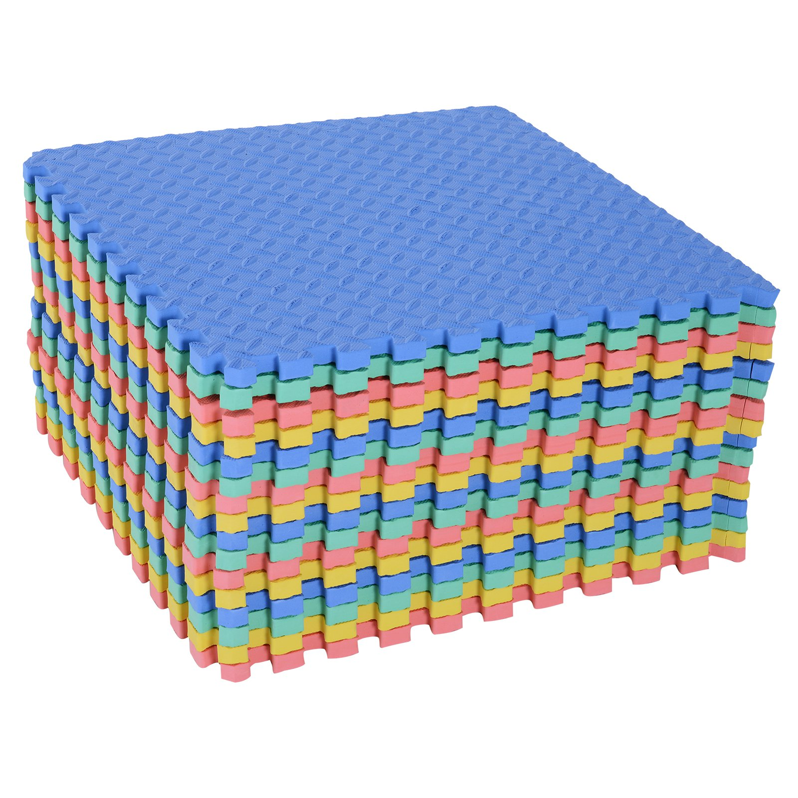 HOMCOM Covor Puzzle in EVA pentru Copii Antialunecos 16 Bucati Multicolor 63.5x63.5x2cm imagine aosom.ro