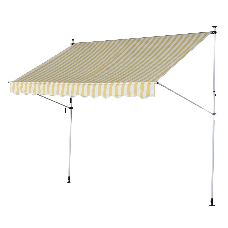 Outsunny Perdea Soare de Perete cu Stalp pentru Sprijin, Alb si Galben, 300x150cm imagine aosom.ro