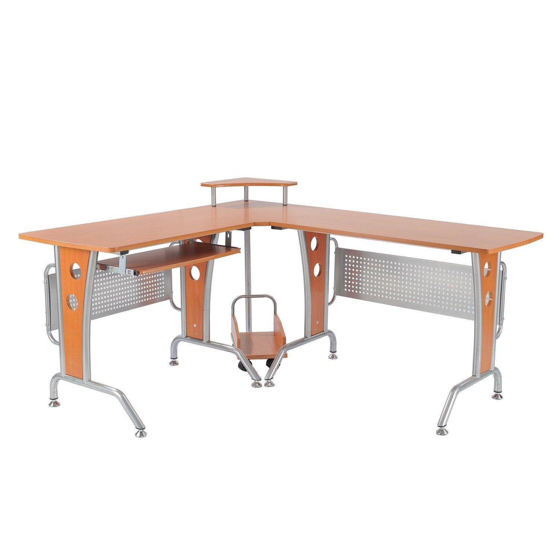 HomCom Masă de birou pe Colț pentru Calculator, Masă pentru Birou PC din Lemn Maro imagine aosom.ro