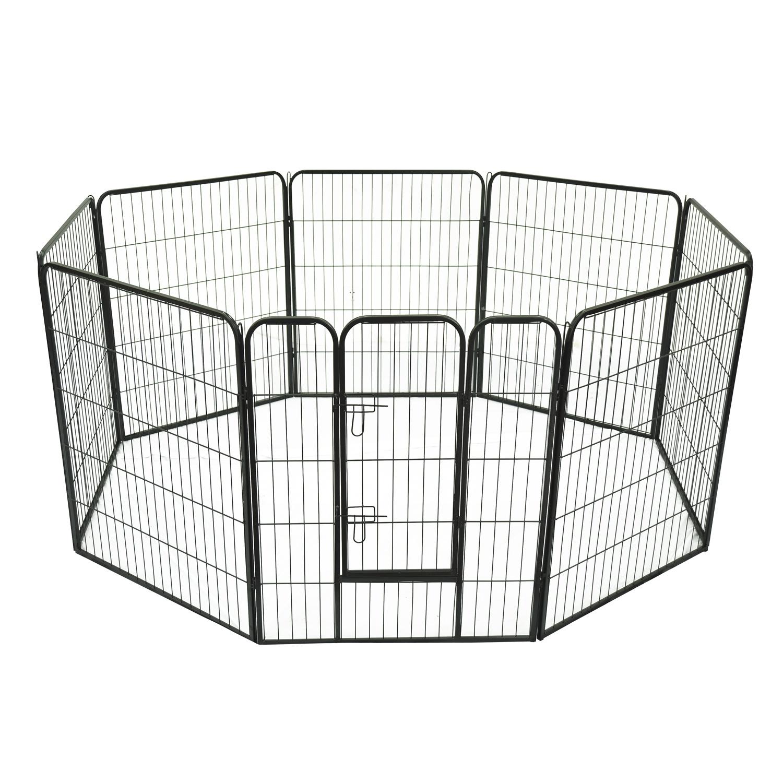 PawHut Gard Modular pentru Animale Câini Pisici Pui Rozătoare 8 Bucăți 80x100cm imagine aosom.ro