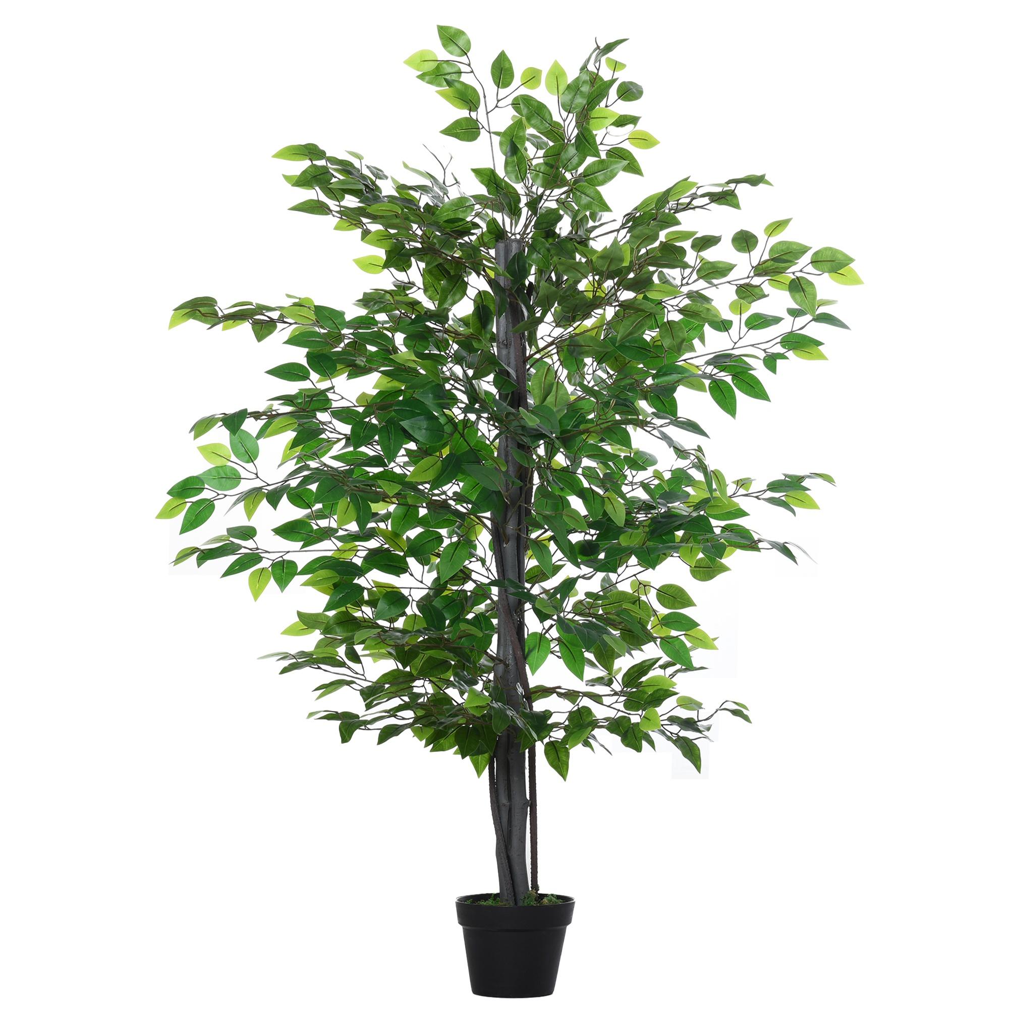 Outsunny Arbore Artificial de Banyan, Planta Artificiala pentru Interior si Exterior Inalta 145cm imagine aosom.ro