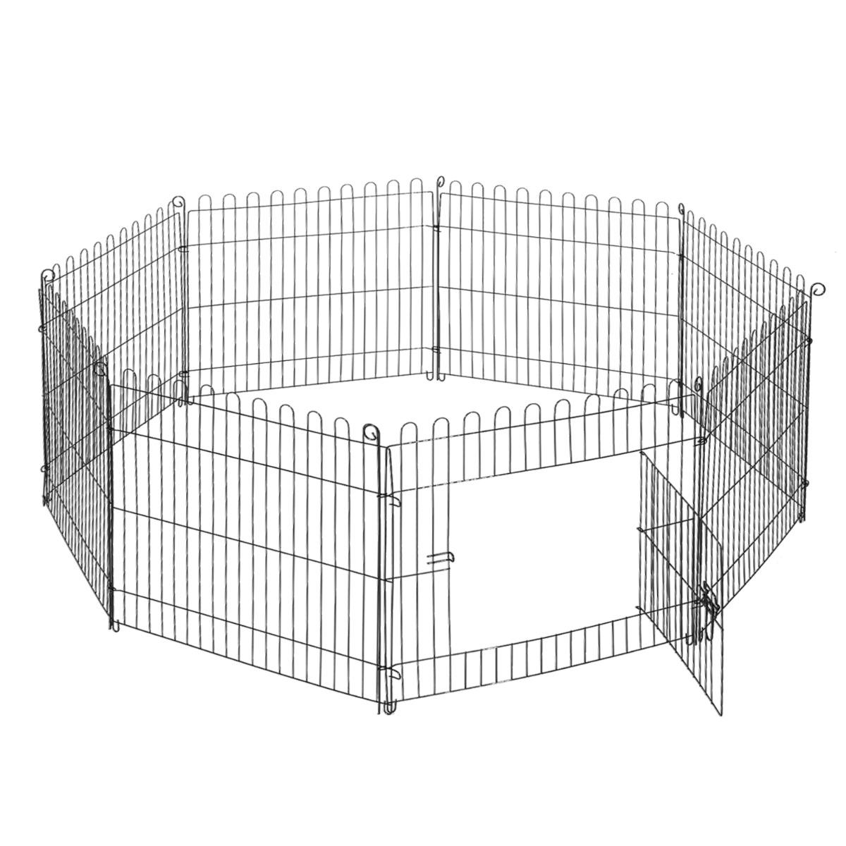 PawHut Țarc pentru Câini Pisici Mici Rozătoare Gard Plasă Cușcă 8 Bucăți 61 x 61cm Negru imagine aosom.ro