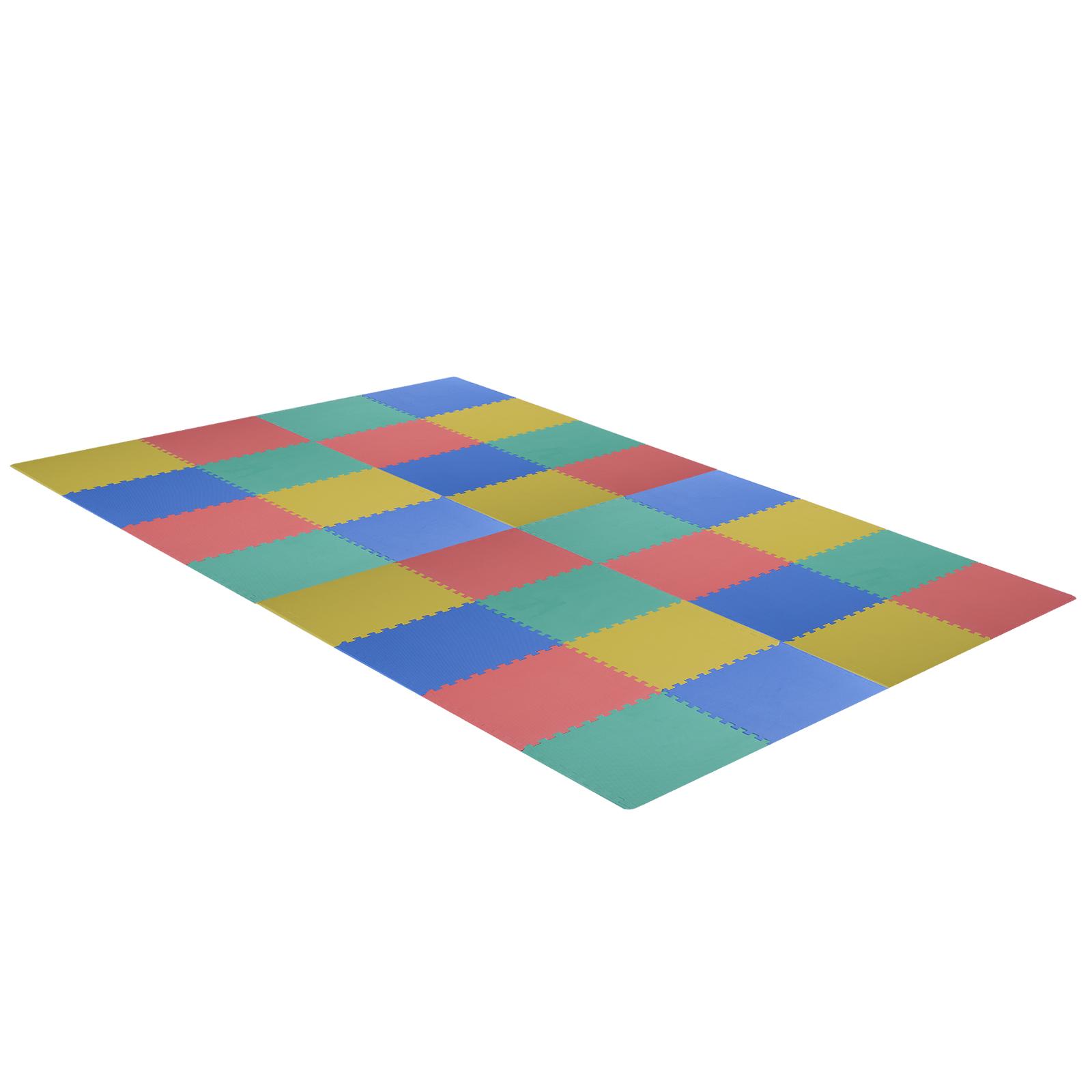 Homcom Covor Puzzle 32 Piese 63x63cm in EVA Moale Colorat imagine aosom.ro