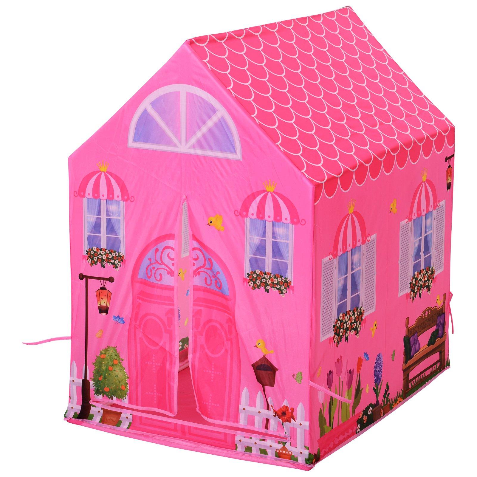 Homcom Cort Princess Play pentru Fete de peste 3 ani pentru Interior si Exterior Roz 93 x 69 x 103 cm imagine aosom.ro