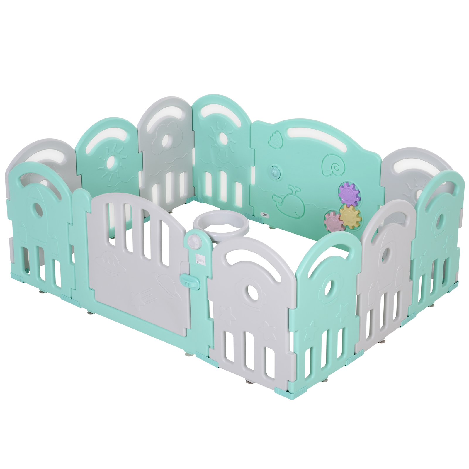 Homcom Gard pentru Copii 6-36 Luni Sigur Colorat Amuzant cu Usa Albastra si Gri 162 x 122 x 63cm imagine aosom.ro