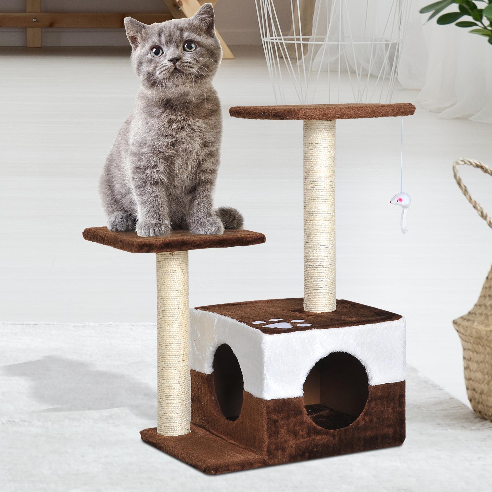 PawHut Copac pentru Pisici cu Soricel Agatat de Peluche Maro 45x33x70cm imagine aosom.ro