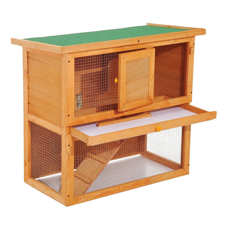 PawHut Cușcă pentru Iepuri pentru Extern, din lemn de Brad, 90x45x80cm imagine aosom.ro