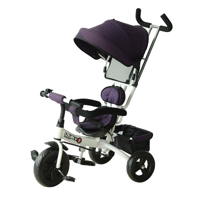 HomCom Tricicleta Deluxe cu Maner si Paravan Parasolar in Plastic si Fier, Alb si Mov imagine aosom.ro