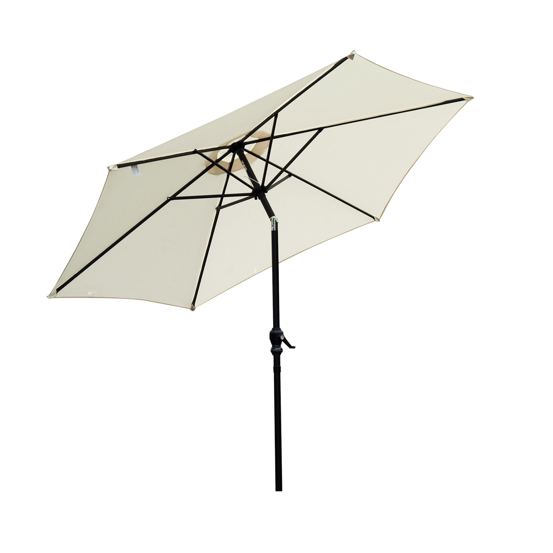 Outsunny Umbrela parasolara de Gradina si Plaja Inclinabila Aluminiu si Poliester Alb Φ2.7×2.35m imagine aosom.ro